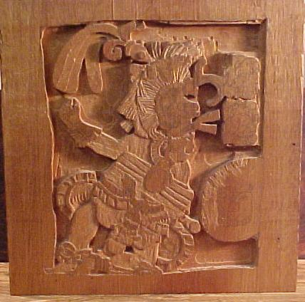 Mayan Relief Replica Woodcarving in Partial Finished State